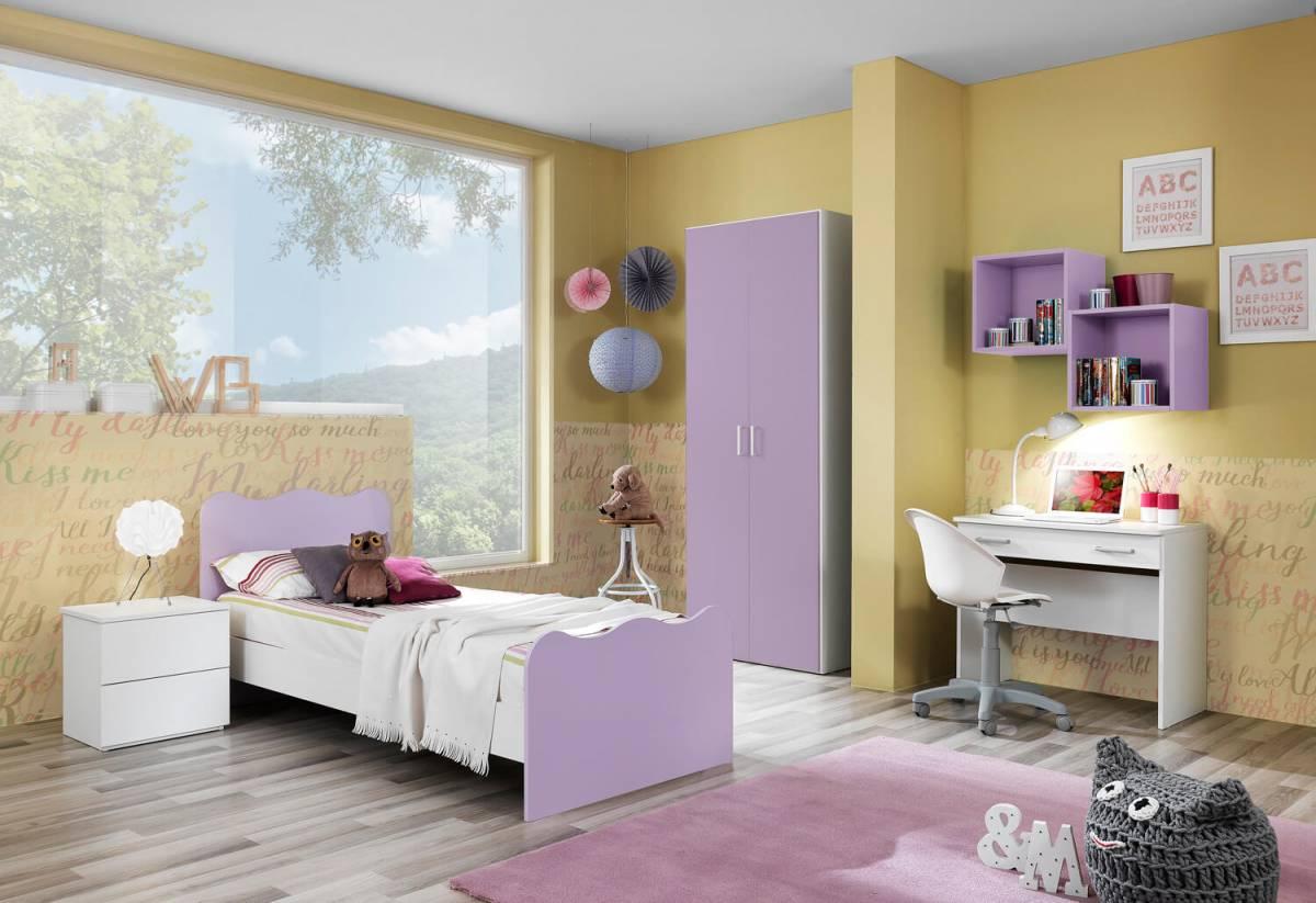 Cameretta Crazy bianco frassinato e lilla (armadio 2 ante)