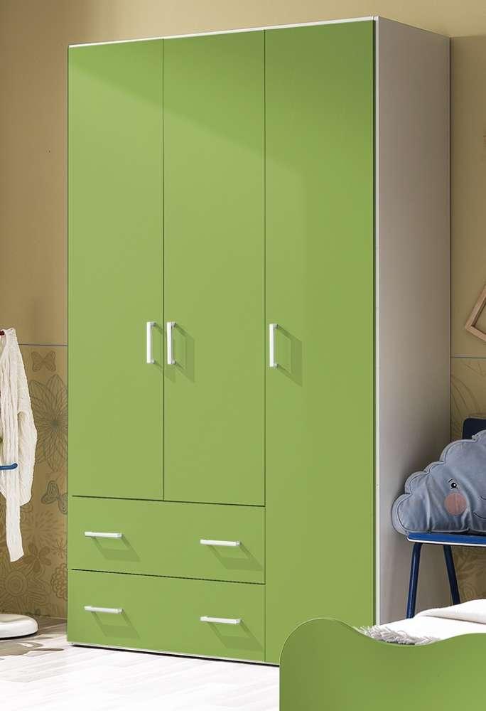 Armadio Crazy 3 ante + 2 cassetti h.211 bianco frassinato e verde prato