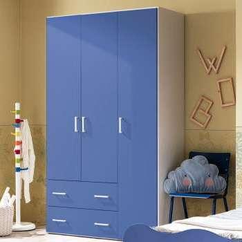 Armadio Crazy 3 ante + 2 cassetti h.211 bianco frassinato e blu
